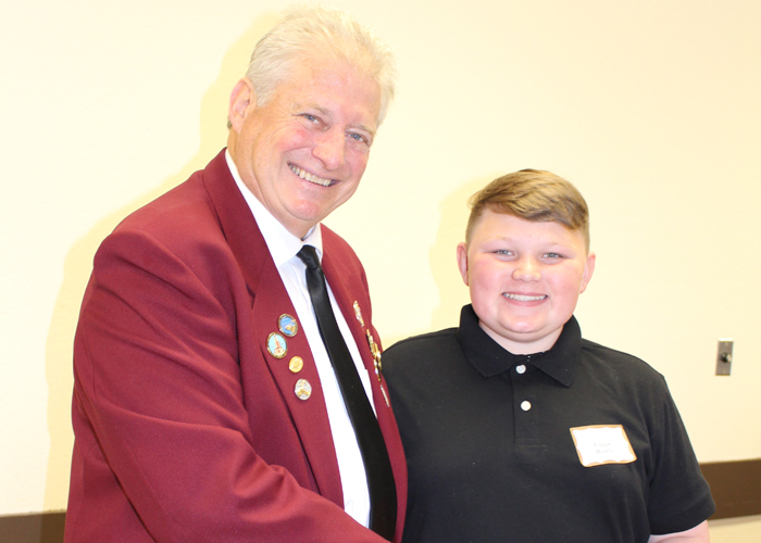 Left to right are Gary Grayson, Exalted ruler - Elks Lodge #6, Logan Rowley Sutter Middle School