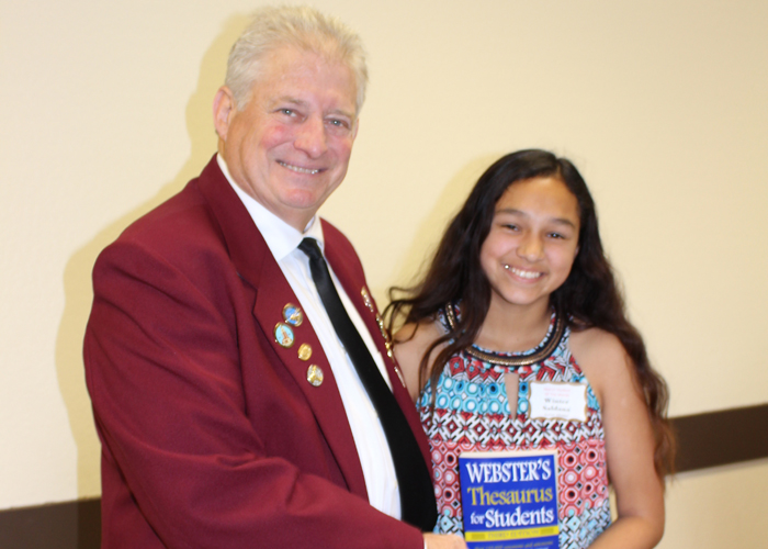 Left to right are Gary Grayson, Exalted ruler - Elks Lodge #6, Winter Saldana (Sutter Middle School